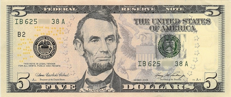 United States Five Dollar Bill or Fiver