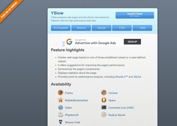 Yslow website monitoring